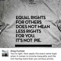 Memes, 🤖, and Pie: EQUAL RIGHTS  FOR OTHERS  DOES NOT MEAN  LESS RIGHTS  FOR YOU.  IT'S NOT PIE.  Greg Curtner  You're right. Now apply the exact same logic  when it comes to income inequality and the  rich having more than you envious pricks (GC)