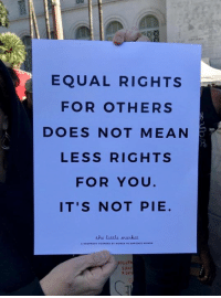 Dank, Mean, and 🤖: EQUAL RIGHTS  FOR OTHERS  DOES NOT MEAN  LESS RIGHTS  FOR YOU  IT'S NOT PIE  the little manket  53시