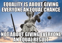 Memes, 🤖, and Chance: EQUALITY ISABOUT GIVING  EVERYONE AN EQUAL CHANCE  NOTABOUT GIVING EVERYONE  ANEQUALRESULT Agree, or disagree?