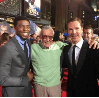 Doctor, Memes, and Stan: ER  ATRE  noor  as STRANE Black Panther and Doctor Strange with Stan Lee!  (Andrew Gifford)