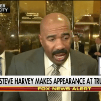 "Memes, Steve Harvey, and 🤖: ER  CITY  Garden  thru  Termooe Level D  STEVE HARVEY MAKES APPEARANCE AT TRU  FOX NEWIS ALERT ""I think that's the only way that we're going to unify our country. We gotta talk."" SteveHarvey describes President-elect DonaldTrump as a ""genuine"" person after meeting with him to discuss inner-city issues."