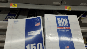 """College, Notebook, and Math: er Paper  NORCOM  lfege Rutad  Filler Paper  College Ruled  5009 50c  Filler Paper  College Ruled  NORCOM  $264 $2.64  750  500  377T  Notebook P  NORCOM  26229""""78 1568  Norcom, Inc  Griffin, GA 30224  Tools For Knowledge  SHEETS  Item # 78156  www.norcominc.com  MADE IN USA  COLLEGE RULED  Notebook Paper  SUSTAINABLE Certified Sourcing  FORESTRY  INITIATIVE  101/2 x 8""""  www.sfiprogram.org  SFI-01081  Flle  Colle  160 $.50 for 150 and $2.64 for 500 either my math is wrong or this is a total ripoff."""