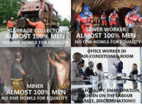 Anaconda, Memes, and Omg: ER WORKER  RBAGE COLLECTO  OST 100% MENE ALMOST 100% MEN  NO ONE HOWLS FOR EQUALY NO ONE HOWLS FOR EQUA  OFFICE WORKER IN  IR-CONDITIONED ROOM  MINER  ALMOST 100% MEN  NO ONE HOWLS FOR EQUALITY  OMG EQDALITY, EMANCIPATION,  OMEN ON THE LABOUR  ARKET, DISCRIMINATION!!! (GC) #womenequalityday