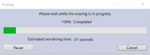 Time, Works, and Charm: Erasing  Please wait while the erasing is in progress.  109% Completed  Estimated remaining time: 01 seconds  Cancel  Pause someone said Revo Uninst works like a charm..