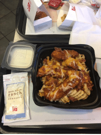 Chick-Fil-A, Life, and Memes: erb  ranch  DRES SANG  o 2017 CFA Properties, Inc. This item contains 50% recycled content. Chick-fil-A secret menu. Order strips or nuggets & fries. Ask to add cheese & bacon bits in a salad container. RETWEET to save a life https://t.co/9ZC0YbuOAF