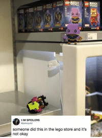 Dank, Lego, and Sorry: ERDZ 1  DZ  Dt  MARVE  9.99  6  t IW SPOILERS  Opeterquillsl  someone did this in the lego store and it's  not okay Sorry little one.
