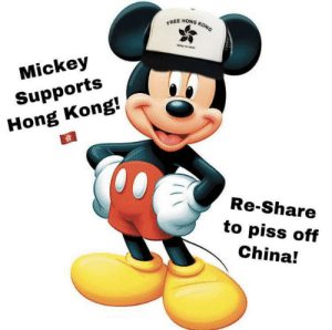 Me_irl by punkblastoise MORE MEMES: EREE HONG KONG  Mickey  Supports  Hong Kong!  Re-Share  to piss off  China! Me_irl by punkblastoise MORE MEMES