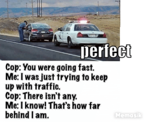 Excuses: erfect  Cop: You were going fast.  Me: I was just trying to keep  up with traffic.  Cop: There isn't any.  Me: I know! That's how far  behind I am.  Memasik Excuses