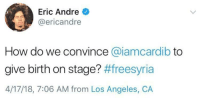 Blackpeopletwitter, Los Angeles, and Eric Andre: Eric Andre  @ericandre  How do we convince @iamcardib to  give birth on stage? #freesyria  4/17/18, 7:06 AM from Los Angeles, CA <p>#freesyria (via /r/BlackPeopleTwitter)</p>