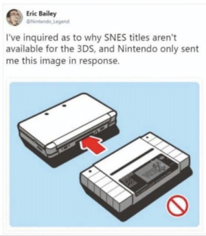 Nintendo, Image, and Legend: Eric Bailey  Nintendo Legend  I've inquired as to why SNES titles aren't  available for the 3DS, and Nintendo only sent  me this image in response. Well at least they replied