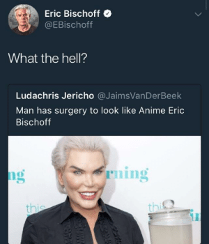 me irl: Eric Bischoff  @EBischoff  What the hell?  Ludachris Jericho @JaimsVanDerBeek  Man has surgery to look like Anime Eric  Bischoff  ng  ning  th  thi me irl