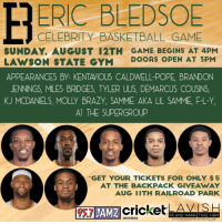 Basketball, DeMarcus Cousins, and Gym: ERIC BLEDSOE  CELEBRITY BASKETBALL GAME  SUNDAY, AUGUST 12TH GAME BEGINS AT 4PM  LAWSON STATE GYM DOORS OPEN AT 3PM  APPEARANCES BY: KENTAVIOUS CALDWELL-POPE, BRANDON  JENNINGS, MILES BRIDGES, TYLER ULIS, DEMARCUS COUSINS,  KJ MCDANIELS, MOLLY BRAZY, SAMME AKA LIL SAMME, F-L-Y  Al THE SUPERGROUP  *GET YOUR TICKETS FOR ONLY $5  AT THE BACKPACK GIVEAWAY  AUG IITH RAILROAD PARK  AMZ  PR AND MARKETING FIRM  www.lavishprandmarketing.com  wireless The Eric Bledsoe Celeb game goes down today! https://t.co/3Pc2vOqyUt