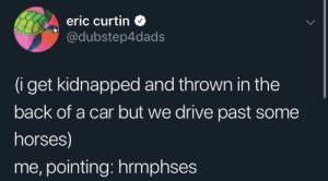 kidnapped: eric curtin  @dubstep4dads  (i get kidnapped and thrown in the  back of a car but we drive past some  horses)  me, pointing: hrmphses