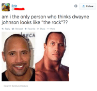 """Rock Memes: Eric  Follow  am i the only person who thinks dwayne  johnson looks like """"the rock""""??  Reply ta Retweet Favorite G Share More  ECA  Source: best-of memes"""