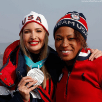 Memes, Pool, and Silver: Eric Gaillard/Pool Photo via AP Silver medalist of the women's two-man bobsled, Lauren Gibbs of the United States, poses for a photo with @ivankatrump.