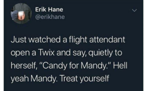 "Candy, Yeah, and Flight: Erik Hane  @erikhane  Just watched a flight attendant  open a Twix and say, quietly to  herself, ""Candy for Mandy."" Hell  yeah Mandy. Treat yourself me🍬irl"