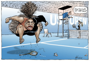 erikkillmongerdontpullout:  star-of-wormwood:  stfumras:  Holy shit Racist Cartoon In Australian Paper   they white-washed naomi osaka too, unbelievable   I want to emphasize how they white washed Naomi to make a point. The beastly, angry terrible black woman image doesn't work if the competitor is also black. There is no foil there. Setting up a thin, blonde calm white woman is needed to drive home how terrible Serena apparently is. This is why co structures of racialized womanhood need to be examined.: erikkillmongerdontpullout:  star-of-wormwood:  stfumras:  Holy shit Racist Cartoon In Australian Paper   they white-washed naomi osaka too, unbelievable   I want to emphasize how they white washed Naomi to make a point. The beastly, angry terrible black woman image doesn't work if the competitor is also black. There is no foil there. Setting up a thin, blonde calm white woman is needed to drive home how terrible Serena apparently is. This is why co structures of racialized womanhood need to be examined.