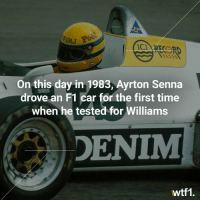 Senna's first F1 drive happened on this day in 1983 f1 formula1 ayrtonsenna williamsf1 wtf1: ERJ  CIRTORD  On this day in 1983, Ayrton Senna  drove an F1 car for the first time  when he tested for Williams  DENIM  wtf1 Senna's first F1 drive happened on this day in 1983 f1 formula1 ayrtonsenna williamsf1 wtf1