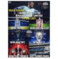 cwc: ERLS  TROLL  FOOTBALLO  YAYA TOURE  I WANT-CITS TO BE  BIGGER THAN UNITED  TO DO LIST:  WIN 19XPL  WIN 12% FA CUP  TROLL  FOOTBALLO  WIN 2X CWC  WIN 3XCL  25  0  WIN THETREBLE GET SOME FANS