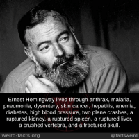 anemia: Ernest Hemingway lived through anthrax, malaria,  pneumonia, dysentery, skin cancer, hepatitis, anemia,  diabetes, high blood pressure, two plane crashes, a  ruptured kidney, a ruptured spleen, a ruptured liver,  a crushed vertebra, and a fractured skull.  weird-facts.org  @factsweird