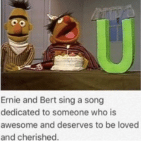 """Love, Memes, and Http: Ernie and Bert sing a song  dedicated to someone who is  awesome and deserves to be loved  and cherished <p>I love these Bert and Erine memes via /r/wholesomememes <a href=""""http://ift.tt/2v9D6ep"""">http://ift.tt/2v9D6ep</a></p>"""