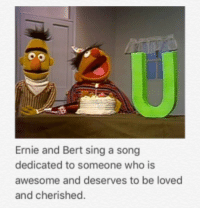 """Http, Awesome, and A Song: Ernie and Bert sing a song  dedicated to someone who is  awesome and deserves to be loved  and cherished <p>A song from Ernie and Bert via /r/wholesomememes <a href=""""http://ift.tt/2rdbWlk"""">http://ift.tt/2rdbWlk</a></p>"""