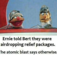 Instagram, Tumblr, and Best: Ernie told Bert they were  airdropping relief packages  he atomic blast says otherwise melonmemes:  Follow us on instagram for the best content!: https://www.instagram.com/realmelonmemes