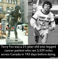 Gym, Memes, and Respect: ERRY MARATHON  OF  HOPE  TOPPHYSIOLAESCOMM  Terry Fox was a 21-year-old one-legged  cancer patient who ran 3,339 miles  across Canada in 143 days before dying.  memes. Com respect . VISIT US ON TOPPHYSIQUES.COM Gym Wear: @topphysiqueswear👈 . FITNESSWIKI