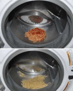 If you accidentally used the wrong spaghetti sauce, you can wash it off in the washing machine.: ERTENGSA If you accidentally used the wrong spaghetti sauce, you can wash it off in the washing machine.