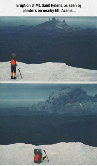 Saint, Seen, and Adams: Eruption of Mt. Saint Helens, as seen by  climbers on nearby Mt. Adams.. <p>Eruption Of Mt. Saint Helens.</p>