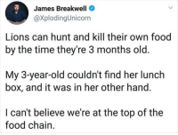 Food, Lions, and Time: es Breakwell  @XplodingUnicorn  Jam  Lions can hunt and kill their own food  by the time they're 3 months old.  My 3-year-old couldn't find her lunch  box, and it was in her other hand.  I can't believe we're at the top of the  food chain