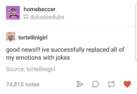 News, Good, and Jokes: es homebeccer  dubsdeedubs  tortellinigirl  good news!!! ive successfully replaced all of  my emotions with jokes  Source: tortellinigirl  74,815 notes