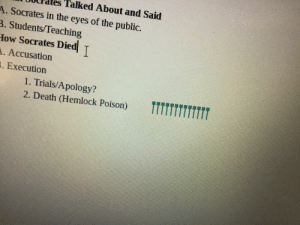 When your bored in school so you line up all of your google doc profiles: es Talked About and Said  A. Socrates in the eyes of the public.  3. Students/Teaching  How Socrates Died  I  A. Accusation  3. Execution  1. Trials/Apology?  2. Death (Hemlock Poison) When your bored in school so you line up all of your google doc profiles