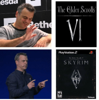 PlayStation, Skyrim, and Bethesda: esaa  The Gilder Scrolls  eth  PlayStation.2  The Glder Scolls V  SKYRIM  Bethesda Bethesda in a nutshell https://t.co/Vwicy15GRj