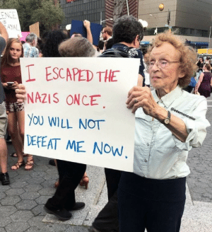 sixpenceee:  Meet 89-year-old Maryanne who came to protest and stand in solidarity with Charlottesville. — @inlemoncolor on Instagram: ESCAPED THE  NAZIS ONCE.  YOU WILL NOT  DEPEAT ME NOW sixpenceee:  Meet 89-year-old Maryanne who came to protest and stand in solidarity with Charlottesville. — @inlemoncolor on Instagram