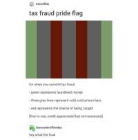 "if i caption this ""tax fraud is good"" it'll get deleted in 38 min. i post ""drugs are good"" it got deleted. its not serious. funey: escuellas  tax fraud pride flag  for when you commit tax fraud  green represents laundered money  three grey lines represent cold, cold prison bars  red represents the shame of being caught  [free to use, credit appreciated but not necessary]  taxevaderoftheday  hey what the fcuk if i caption this ""tax fraud is good"" it'll get deleted in 38 min. i post ""drugs are good"" it got deleted. its not serious. funey"
