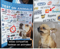 "Animals, Avon, and Dove: ESE COMPANIES  TEST ON ANIMALSD  OralB OFF  PANTEN  PRO  ANIMALs eSO  So REVLON  3M 409  A fresh  ACUVUE Aveeno  RXE AVON  RIGHT  GUARD  Pampers  WCk  Colgate  REX Doing Dove pino pic crest DNSER  Rogaine  ChapStick COVERGIR  Crest DIESEL  AMS  GLAD  hoods fabreze Dial Gillethe  IAUREN  GARNIER green  ener febree@silleteeRN eRgreer ES 在 洪  IVORY  REDKEN  works  LOREAL  MAYBELLINE aeseor  LISTERINE  P&G  RIGHT  IARD  mpers  ide  Sives REDKEN  estas compañías  testean en animales"" sufisiente internet x hoy"