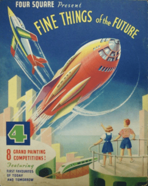 Tumblr, Blog, and Book: esent  FINE THINGS  0a0  4  GRAND PAINTING  COMPETITIONS!  Geaturing  FIRST FAVOURITES  OF TODAY  AND TOMORROW scifiseries:  1954 Colouring Book from Four Square Foods