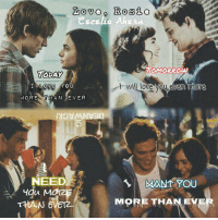 Love , Rosie: eses lia AhErn.  TOMORROW  TODAY  wil love you, gven more  I LOVE YOU  MORE THAN EVER  NEED  3  MAN YOU  MORE THAN EV  THAN Love , Rosie