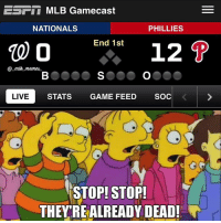 Meme, Memes, and Mlb: ESET MLB Gamecast  PHILLIES  NATIONALS  End 1st  12 P  10 00  meme.  LIVE  STATS  GAME FEED  SOC  STOP! STOP!  THEY REALREADY DEAD! The NationaLOLs just gave up a franchise record 12 runs in the first inning to the Phillies