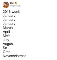 9gag, Memes, and Summer: Esi  @maameo2  2018 went:  January  January  January  March  April  MAY  July  Augus  Se-  Octo-  Novechristmas It feels like summer was just 5 weeks ago...⠀ By maameo2__ | TW⠀ -⠀ 2018 2019 timeflies 9gag