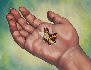 Tumblr, Blog, and Etsy: eskiworks: furry-scientist:  eskiworks:  Kitten Bee A tiny predator to hunt mosquitoes, aphids, and other pests for you!  Keeps company with bumble bees and honey bees, purrs are very smol. Prints - https://www.etsy.com/listing/550051517/kitten-bee-print   You messed up