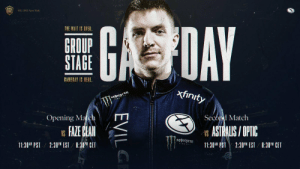 We're excited to be able to welcome our new team by jumping straight into #ESLOne New York!  Coming up after the break, we are facing off against @FaZeClan.  Join our Discord for the alert when we're live: https://t.co/ozcaG8M8oq https://t.co/bT1DFepkkx: ESL ONE New York  ONE  GDAY  THE WAIT IS OVER  GROUP  STAGE  GAMEDAY IS HERE  xfinity  MONSR  Second Match  Opening Match  ASTRALIS/OPTIC  FAZE CLAN  VS  VS  MONSTER  11:30AM PST 2:30 EST /8:30 CET  11:30AM PST  2:30PM EST  8:30M CET  EVILG We're excited to be able to welcome our new team by jumping straight into #ESLOne New York!  Coming up after the break, we are facing off against @FaZeClan.  Join our Discord for the alert when we're live: https://t.co/ozcaG8M8oq https://t.co/bT1DFepkkx