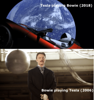How, Tesla, and Bowie: esla playing Bowie (2018)  Bowie playing Tesla (2006) Oh, how the tides have turned