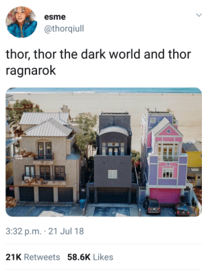 Dank, Memes, and Target: esme  @thorqiull  thor, thor the dark world and thor  ragnaroK  1347  3:32 p.m. 21 Jul 18  21K Retweets 58.6K Likes Yeap, thats pretty accurate by Zannetidis FOLLOW HERE 4 MORE MEMES.