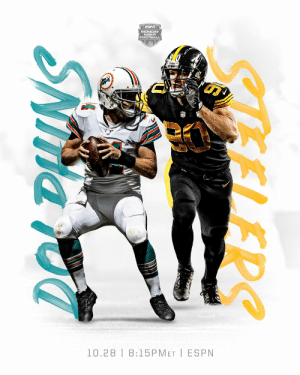 South Beach in Steel City. Who gets the Week 8 win? 👀  📺: #MIAvsPIT -- TONIGHT 8:15pm ET on @espn  📱: NFL app // Yahoo Sports app https://t.co/zOulc1kgGm: ESPN  MONDAY  FOOTBAL  10.28 8:15PMET ESPN  ELERS  SNNNS South Beach in Steel City. Who gets the Week 8 win? 👀  📺: #MIAvsPIT -- TONIGHT 8:15pm ET on @espn  📱: NFL app // Yahoo Sports app https://t.co/zOulc1kgGm
