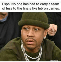 Espn, Finals, and LeBron James: Espn: No one has had to carry a team  of less to the finals like lebron James.  PhotoGrid How soon they forget...