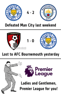 Memes, Premier League, and Citi: ESTER  CHESA  94  BALL  CITY  Defeated Man City last weekend  AFC BOURNEMOUTH  BALL  Football  Lost to AFC Bournemouth yesterday  Premier  League  Ladies and Gentlemen,  Premier League for you! Premier League for you.  Via : The LAD Football