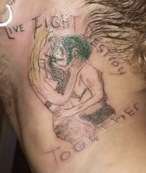 Facebook, Saw, and Tattoo: ESTR  LVE IGH  toy Saw this tattoo scrolling through Facebook. . . At least it's covered up now