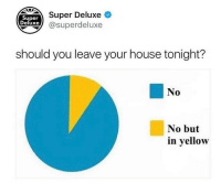 No Buts: eSuper Deluxe  xe@superdeluxe  Super  Deluxe  should you leave your house tonight?  No  No but  in yellow